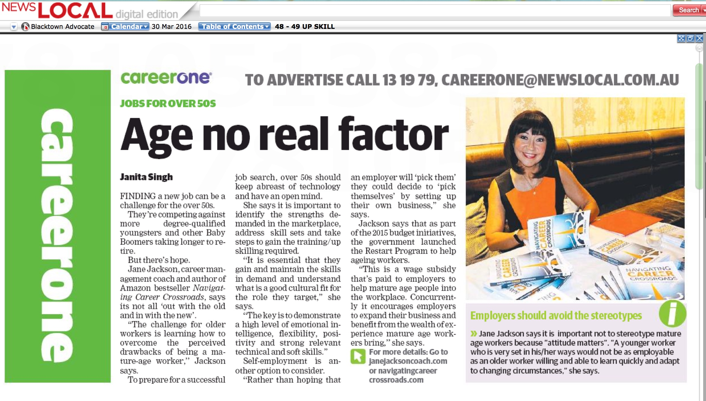 Mosman Daily, News Local, Career One, Jane Jackson