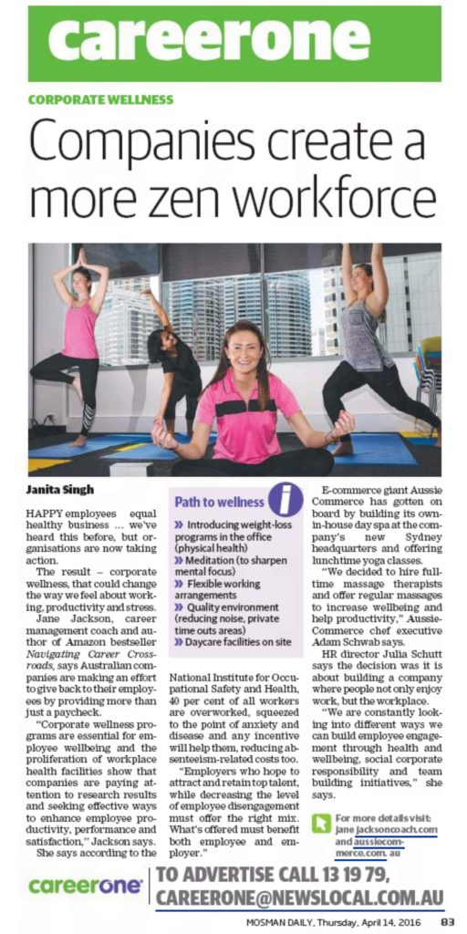 careerone, mosman daily, jane jackson, corporate wellness, careers