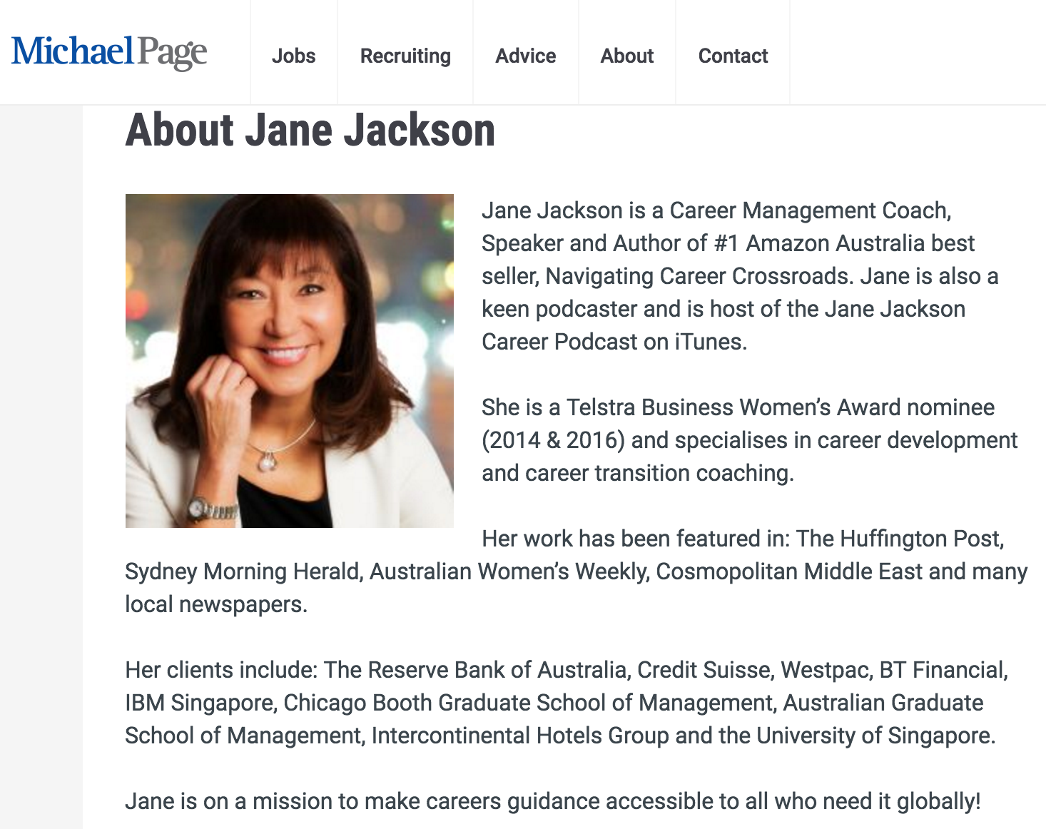 Michael Page, recruitment, Jane Jackson, author, career coach
