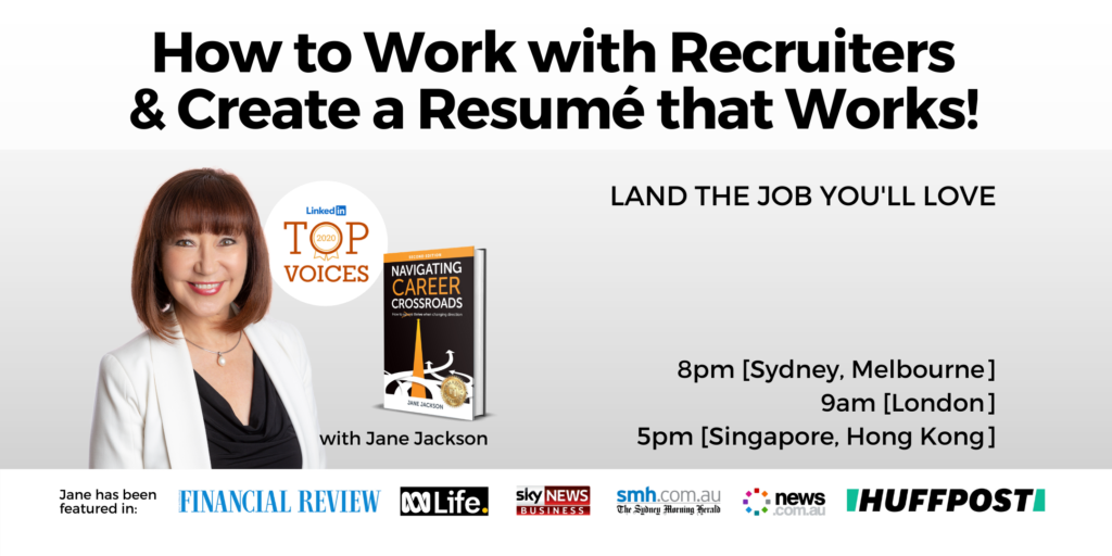 Jane Jackson, career coaching, how to get a job, working with recruiters, how to get past the ATS, resume writing